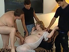 Pregnant amateur blonde gets roughly gang banged