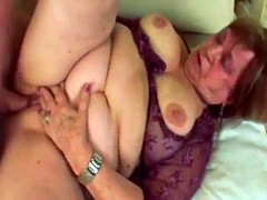 Big tit chubby granny gets her wet hungry pussy pounded by young stud