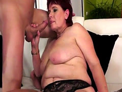 Redhead grandmother fucked in many poses