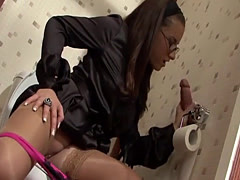 Tereza fucked in toilet and suck from glory hole