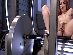 Hairy pussy redhead squirts on fucking machine