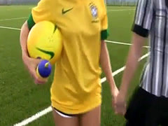 Big natural tit brunette teen fuck Brazilian player poking the referee