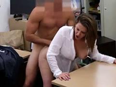 Big Titty Brunette MILF Getting Banged On Pawn Shop Desk