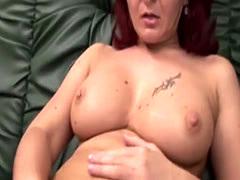 Sexy busty redhead MILF masturbates they satisfied a guy with amputate