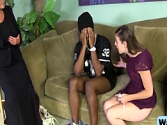 Step mom and teen get filled by black schlong