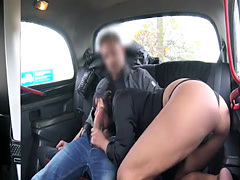 Big tits amateur brunette gets nailed by nasty driver