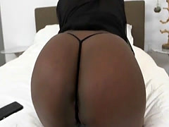 Perfect Ebony slut Layton Benton gets fucked on the bed by a stiff whi