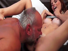 Young redhead beauty banged by lucky grandpa