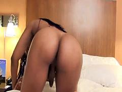 Bigass ebony tranny masturbating passionately