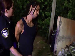 Two busty MILF officers use black guy for sex