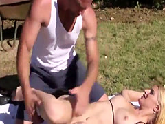 Squirting stunner rides hard cock outdoors