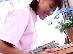 Japanese nurse gets her hairy pussy slammed