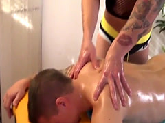 Massaged twink assfucked deeply by masseur