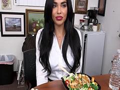 Busty Latina slut Selena Santana getting fucked hard inside the office