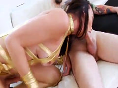 Curvy shemale Jonelle Brooks assfuck while stroking her dick