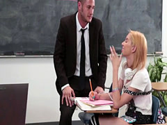 Beautiful blonde schoolgirl gets fucked in the classroom