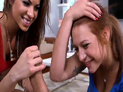 Kylie Rouge and Sasha Summer nasty threesome session