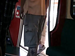 Girl in Vegas on the tram getting dirty in public with a chance of get