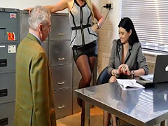 Sexy boss bitches turn office pervert into nylon stockings worship and