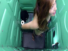 First time teen sucks cock on camera in public porta potty gloryhole