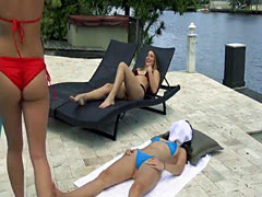 Bikini besties in dildo threesome