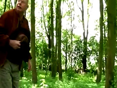 Grandfather fucks under cover of forest