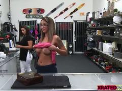 Gorgeous babe Layla London flashes tits in the pawnshop