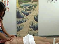 Amazing Asian masseuse gets pussy drilled in a massage room