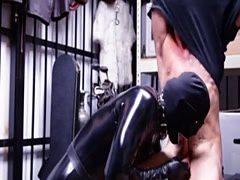 Buff naked straight men gay Dungeon sir with a gimp
