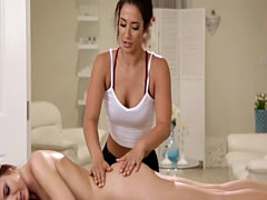 Hot masseuse make out with her client on massage table
