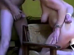 Chubby woman gets plugged and face fucked