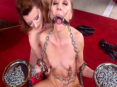 Tied up slave anal banged in threesome