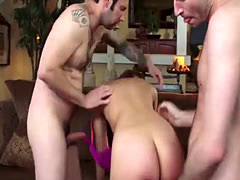 Sexy brunette handles two big boners