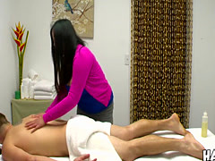 Sexy dude gets involved into a crazy action by his masseuse