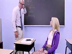 Flirty Riley sucks his professors massive dick and she get fucked