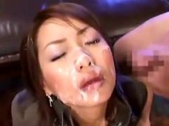 Glamorous Japanese MILF bukkake