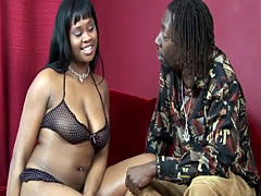 Black babe sucking cock and riding