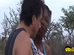 Two black babes pounded outdoors