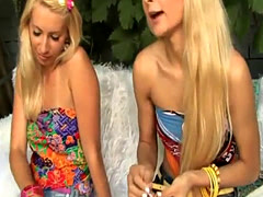 Teen lesbians have outdoor fun