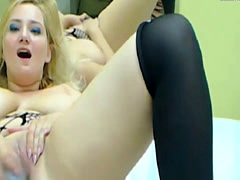 Busty blonde wife crazy on cam
