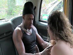 Female taxi driver sucks big black cock