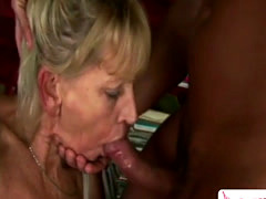 Horny blonde granny gets bent over tight