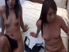 Two Sexy Asian Amateurs Getting Naked And Fucking In Threesome