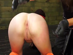 Skinny lez fucked hard by her BDSM Gf