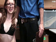 Teen cooperates in sucking and fucking officers cock