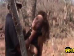 Hot black girl slurping cock outdoors