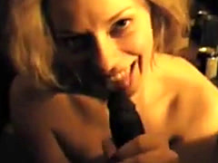 Nasty white slut admiring a black pipe