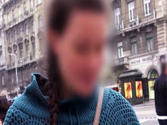 Natural big tits Spanish student in public