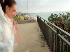 Busty broke teen jogger blows in public