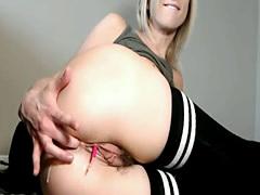 MILF chick teasing in tight high socks